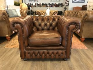 Engelse Springvale Chesterfield clubfauteuil Tabacco Bruin