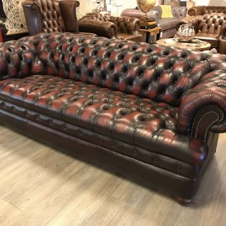 Engelse Chesterfield bankstel 3+2 Zits Oxblood Rood Buttonseat
