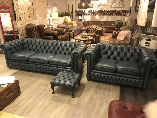 Engelse Springvale Chesterfield zithoek in Jeans Blauw