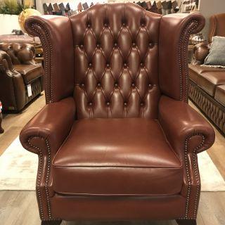 Set van 2 x Engelse Chesterfield fauteuils Roodbruin als Nieuw
