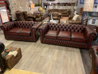 SHOWROOMMODEL The Wales 3+2 zits chesterfield bankstel Oxblood Rood