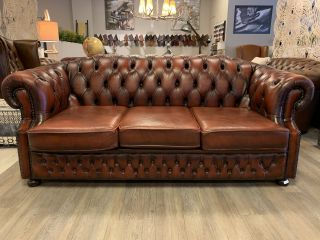 Engelse chesterfield 3 zits bank Winchester Roodbruin