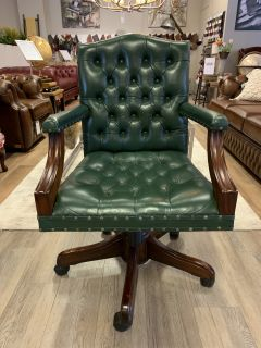Klassiek chesterfield bureaustoel President chair Groen