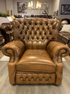 Engelse Springvale chesterfield fauteuil Woburn Tabacco Bruin