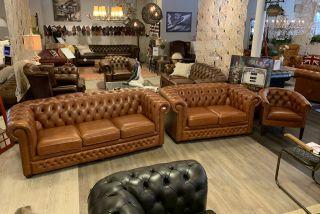 Originele Springvale chesterfield bankstel 3+2+1 zits Cognac bruin