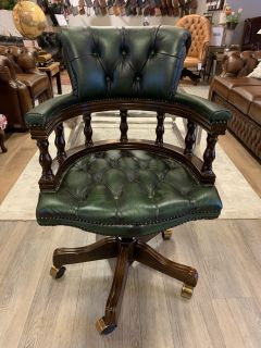 Chique chesterfield bureaustoel captainchair Groen