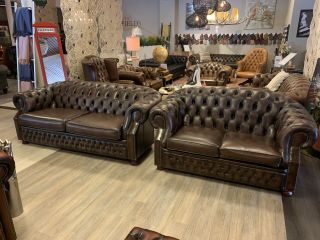 Engelse chesterfield Winchester 3+2 zits bruin