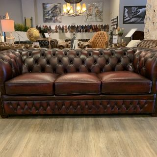 Chique chesterfield zithoek 3+2 zits Oxblood Rood