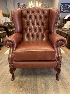 Engelse chesterfield oorfauteuil Cognac Bruin Wingchair