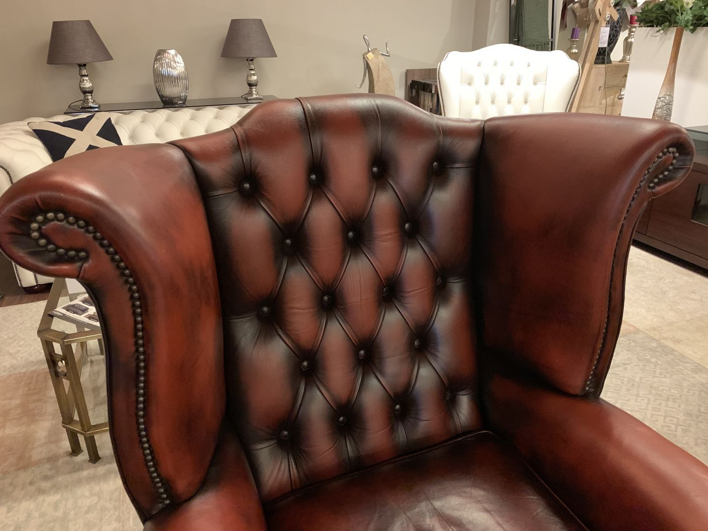 Chesterfield Fauteuil Oxblood.Engelse Springvale Chesterfield Fauteuil In Oxblood Rood