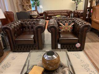 Showroommodel: 2 x Birmingham chesterfield clubfauteuils bruin