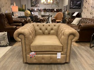 Showroommodel The Belfast chesterfield clubfauteuil XL Naturel vintage