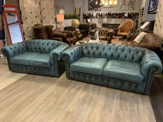 Engelse chesterfield bankstel 3+2 zits in Jeans Blauw Winchester