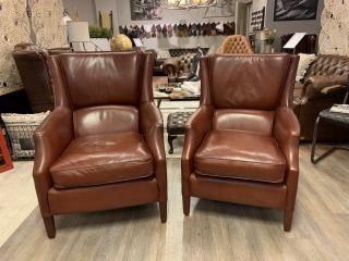 2 x chique rundlederen lendesteun fauteuils van Bendic model Tessa