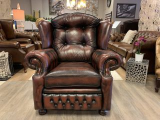 Engelse Springvale chesterfield fauteuil in Suzanne Dark Rust