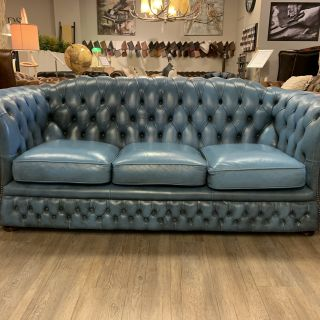 Engelse Springvale Blenheim chesterfield 3 zits bank Jeans Blauw