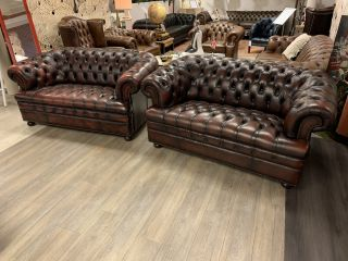 Engelse Winchester chesterfield zithoek 2 x 2 zits Oxblood Rood