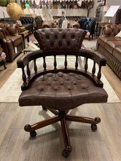 Chique chesterfield bureaustoel captainchair bruin