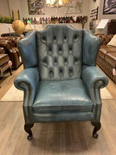 Engelse Springvale chesterfield oorfauteuil in Jeans Blauw