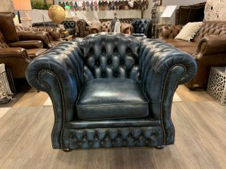 Engelse Springvale chesterfield clubfauteuil Blenheim Jeans Blauw