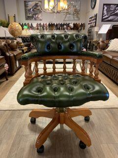 Engelse chesterfield bureaustoel groen in Nieuwstaat