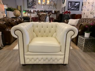 Engelse Springvale chesterfield clubfauteuil crème / gebroken wit Glenwood