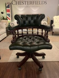 Engelse chesterfield bureaustoel captainchair groen