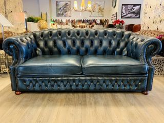 Engels Winchester chesterfield 3 zits bank Jeans Blauw
