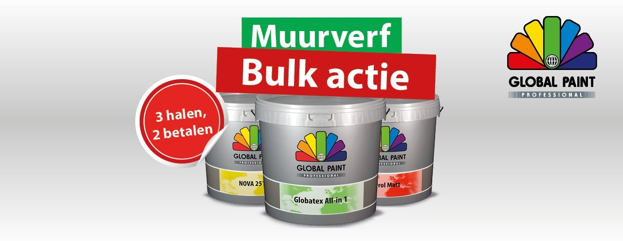 3=2 muurverf Global Paint Professional actie