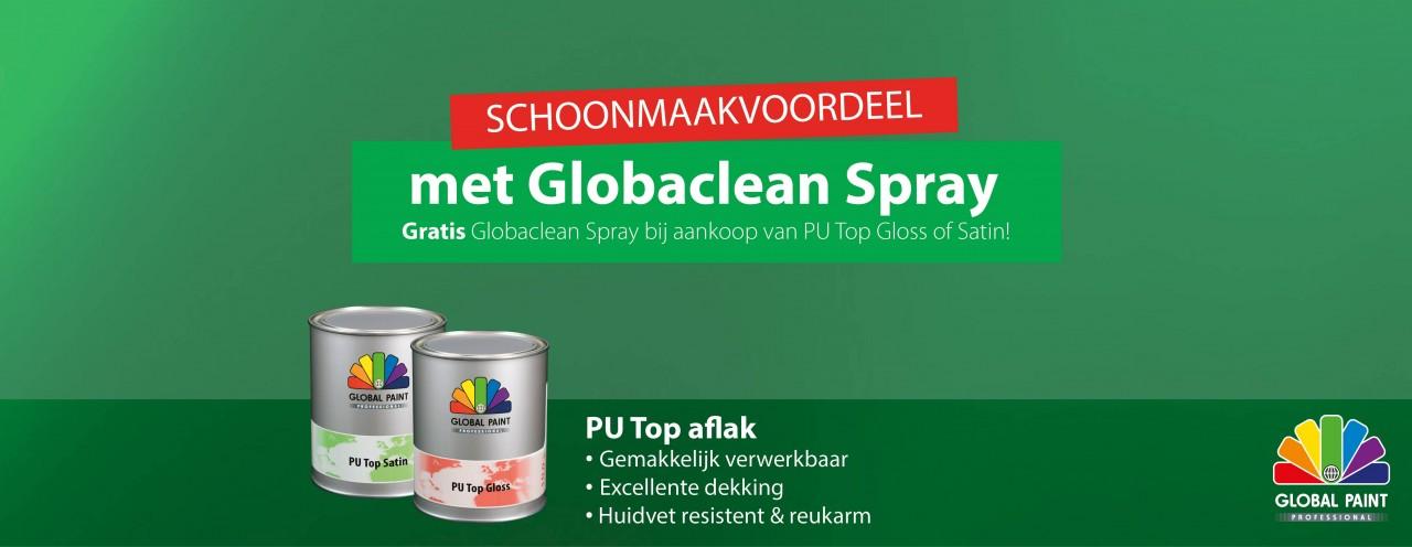 GRATIS Globaclean Spray bij aankoop van  een blik PU Top Gloss of Satin!