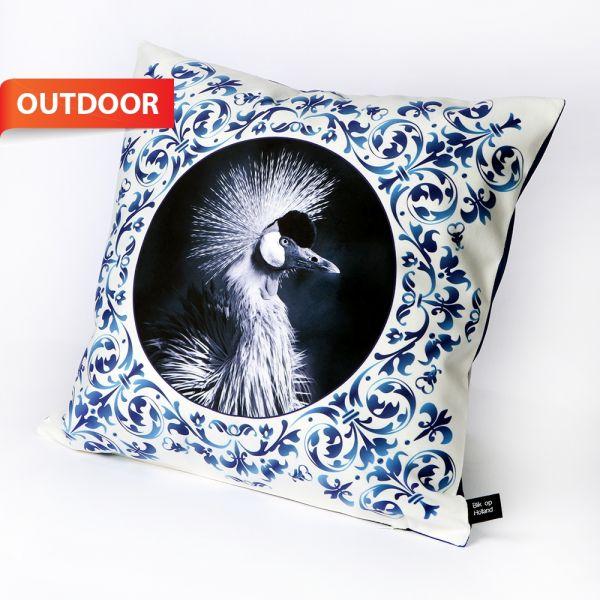 HUGS outdoorkussen Delfts Blauw kraanvogel