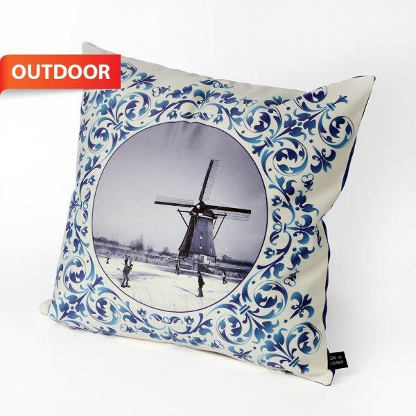HUGS outdoorkussen Delfts Blauw molen