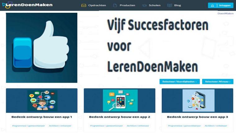 Vijf LerenDoenMaken succesfactoren.