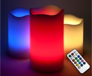 LED vlamloze kaars rood, geel, blauw