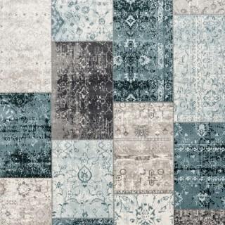 efd55a50c2c707 Cool Patchwork Vintage vloerkleed - Donkergrijs blauw