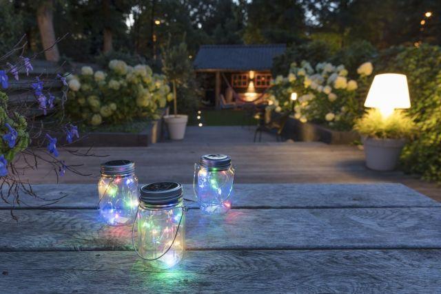 LED Solar lamp in pot Detroit YRGB 3/set