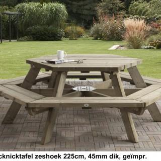 Picknicktafel zeshoek 225 cm 45 mm