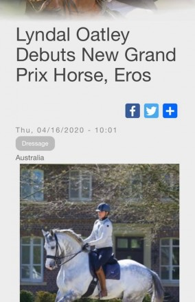 Lyndal Oatley debuts new GP Horse Eros